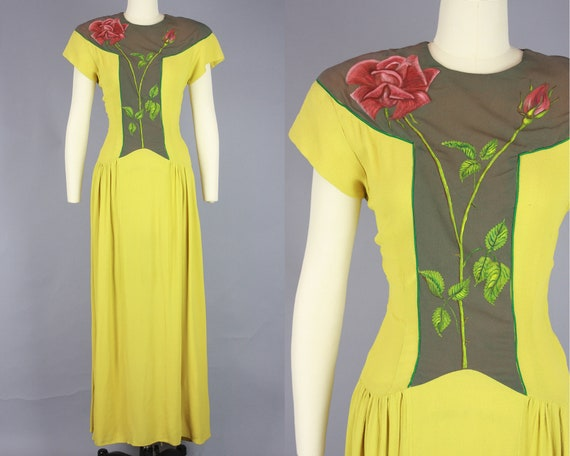 1940s HAND PAINTED Gown | Vintage 40s Chartreuse D