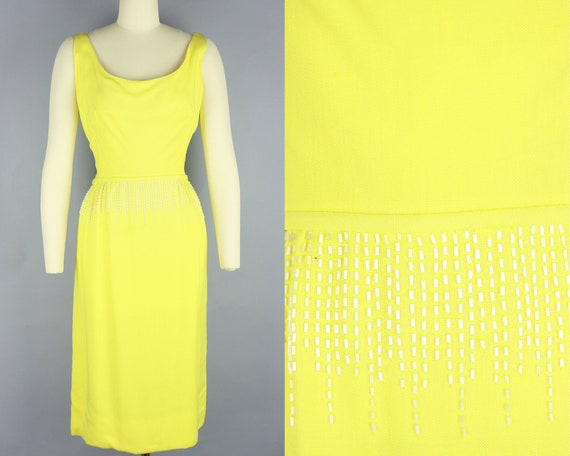 1960s BEADED Yellow Dress | Vintage 60s 'Frank Sta