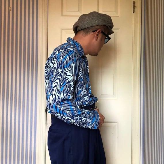 GROOVIN HIGH 1950s Style Vintage Blue /& Black TigerLeopard Animal Print Rayon Long Sleeve Shirt-Size Medium
