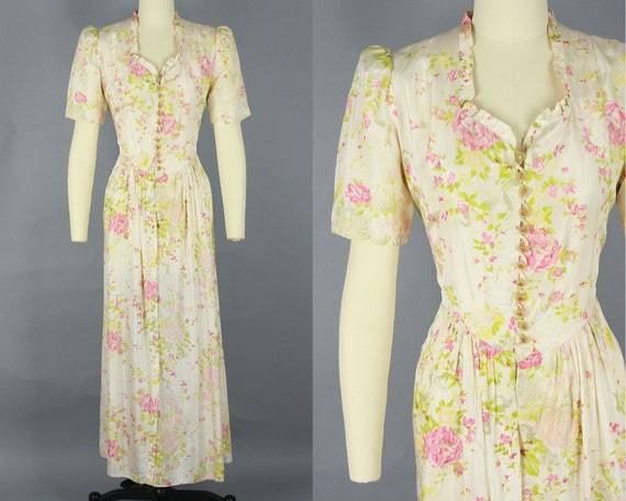 1930s Rose Print House Dress | Vintage 30s Puff Sh