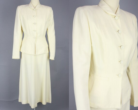 1940s SACONY Suit | Vintage 40s Ivory Palm Beach … - image 1