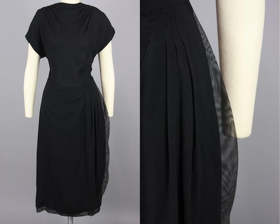 1940s Mesh Trimmed Rayon Crepe Dress   Vintage 40s