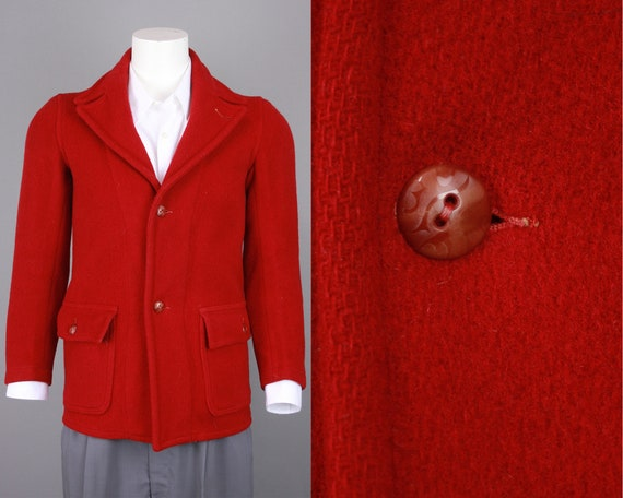 1930s Red Wool Coat | Vintage 30s 40s Belted Back
