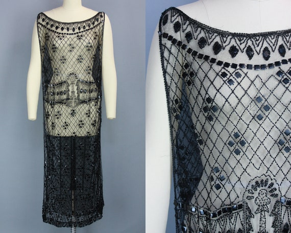 1920s BEADED TABARD   Vintage 20s Black Net Dress