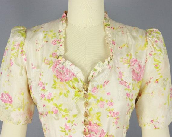 1930s Rose Print House Dress   Vintage 30s Puff S… - image 5