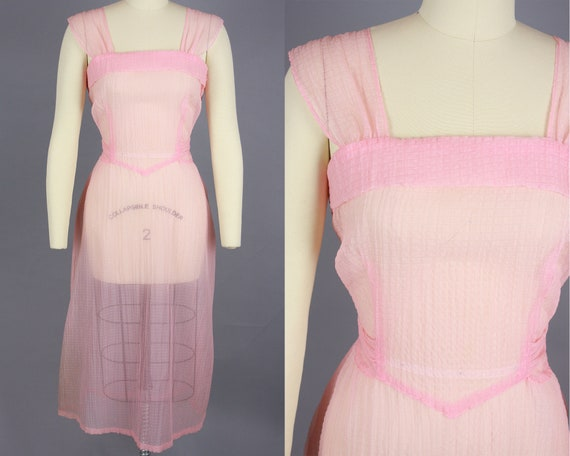 1950s SHEER Nylon Dress | Vintage 50s Pink See Thr