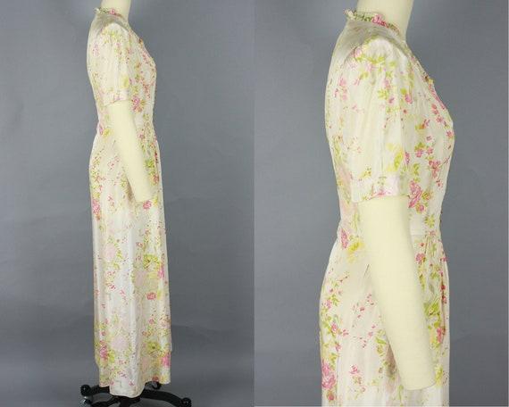 1930s Rose Print House Dress   Vintage 30s Puff S… - image 3