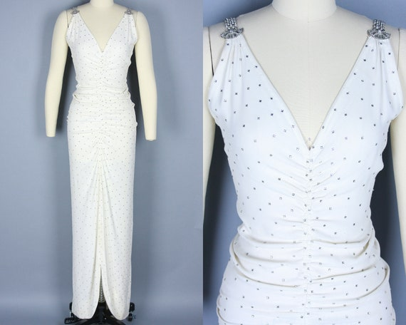 1930s RHINESTONE Gown | Vintage 30s White Rayon Cr