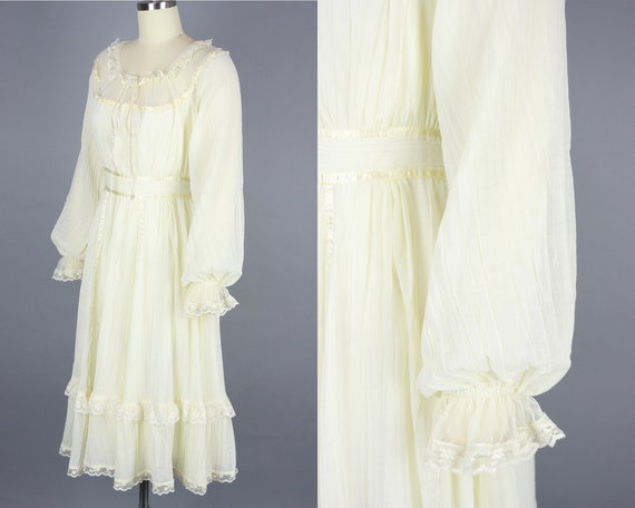 1970s GUNNE SAX Dress | Vintage 70s Ivory Cotton … - image 2