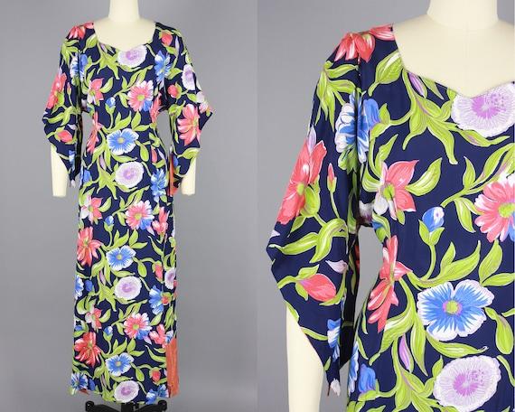 1940s Pake Muu   Vintage 40s Floral Print Rayon Ha
