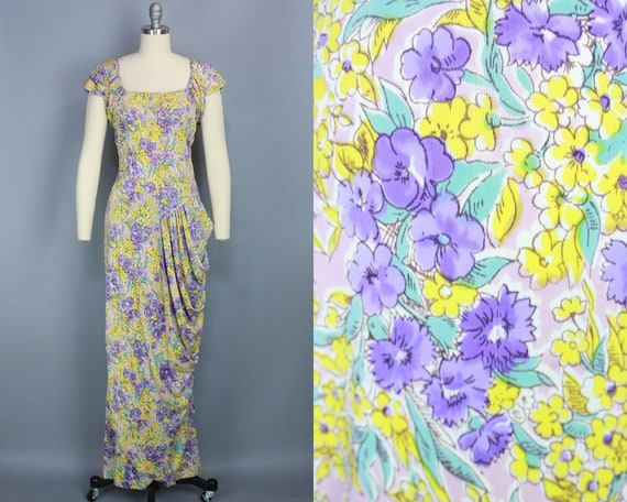 1940s RAYON JERSEY Gown | Vintage 40s Long Floral