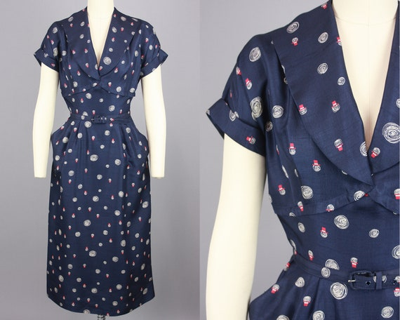 1950s Printed Day Dress | Vintage 50s Navy Blue Si