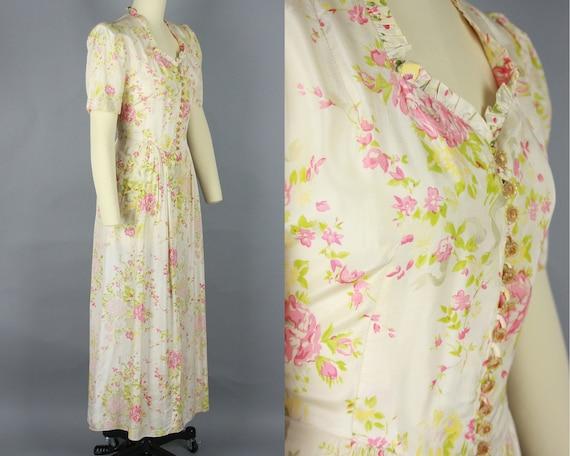 1930s Rose Print House Dress   Vintage 30s Puff S… - image 2