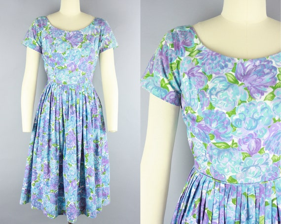 1950s FLORAL COTTON Dress | Vintage 50s 'Teena Pai