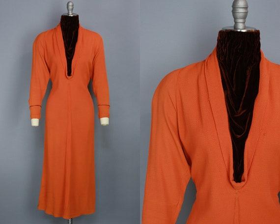 1930s TWO TONE Dress   Vintage 30s Orange Rayon &