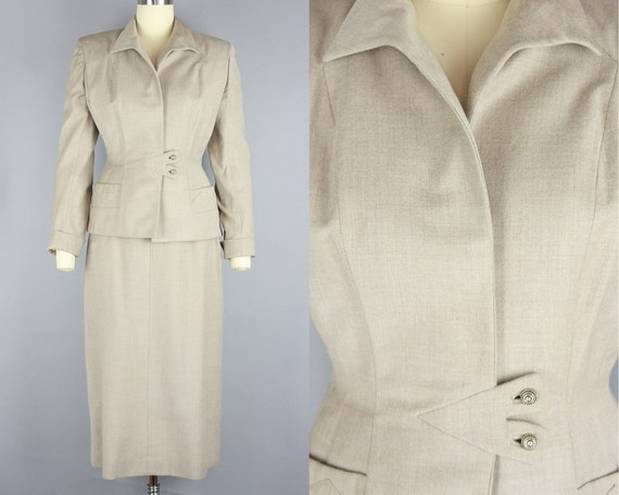 1940s V for Victory Suit | Vintage 40s Taupe Wool