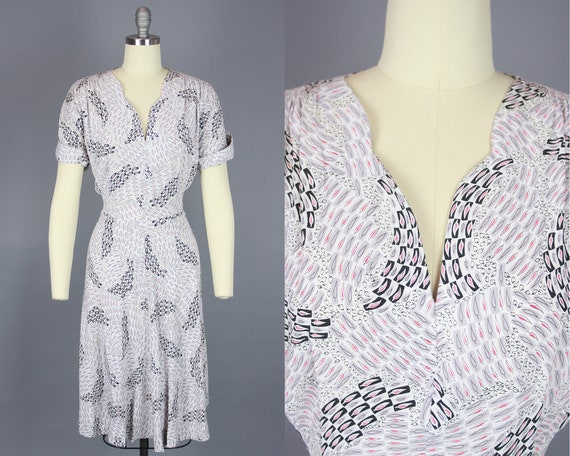 1940s Printed Dress | Vintage 40s Rayon Day Dress