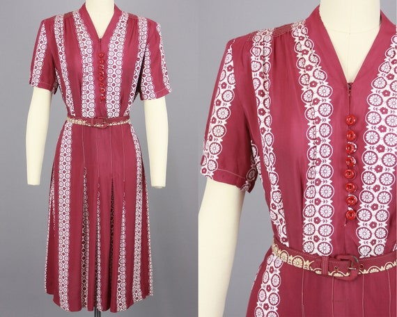 1940s Printed Rayon Dress with Belt | Vintage 30s