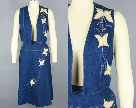 1970s Embroidered DENIM SET   Vintage 70s Vest & S