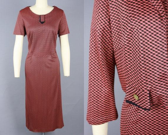 1950s GINGHAM Jersey Dress Set | Vintage 50s 60s T