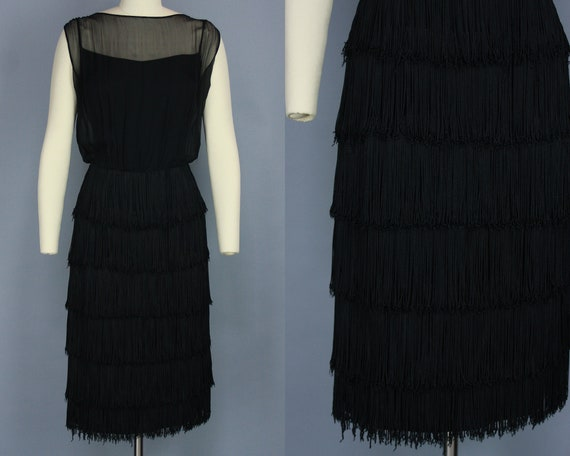 1960s FRINGE Dress | Vintage 60s Black Cocktail Dr