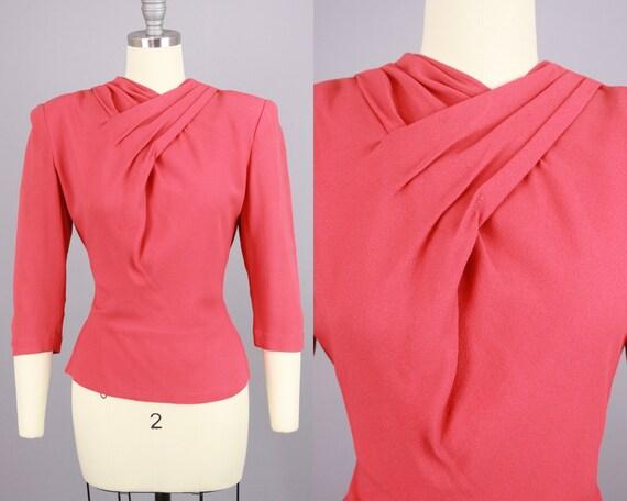1940s Rayon Blouse  Vintage 40s Pink Top  Medium