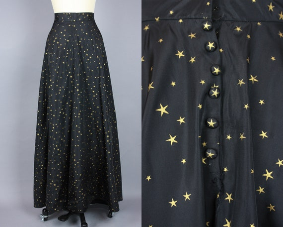 1940s STAR Skirt | Vintage 40s Black Taffeta Skirt