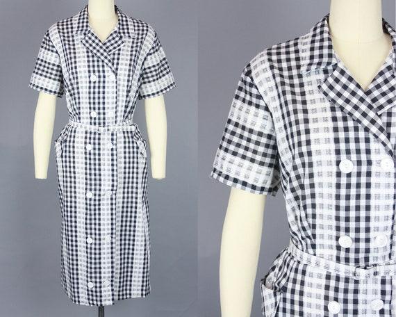1960s GINGHAM Day Dress | Vintage 50s 60s Black &