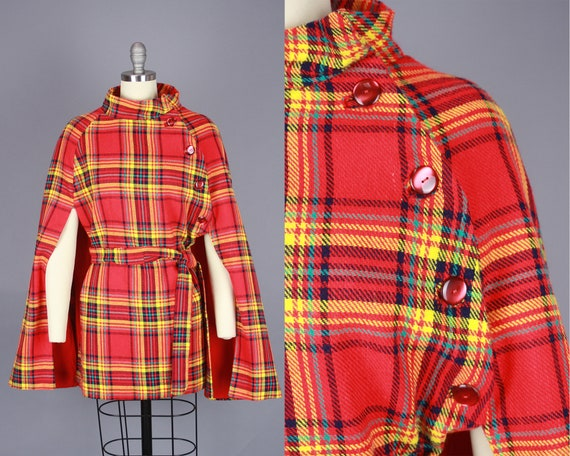 1960s PLAID CAPE | Vintage 60s 70s Asymmetrical Re
