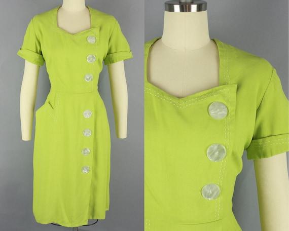 1950s CHARTREUSE Dress | Vintage 50s Linen Dress w