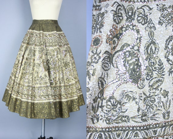 1950s MEXICAN CIRCLE SKIRT | Vintage 50s Gold Pain