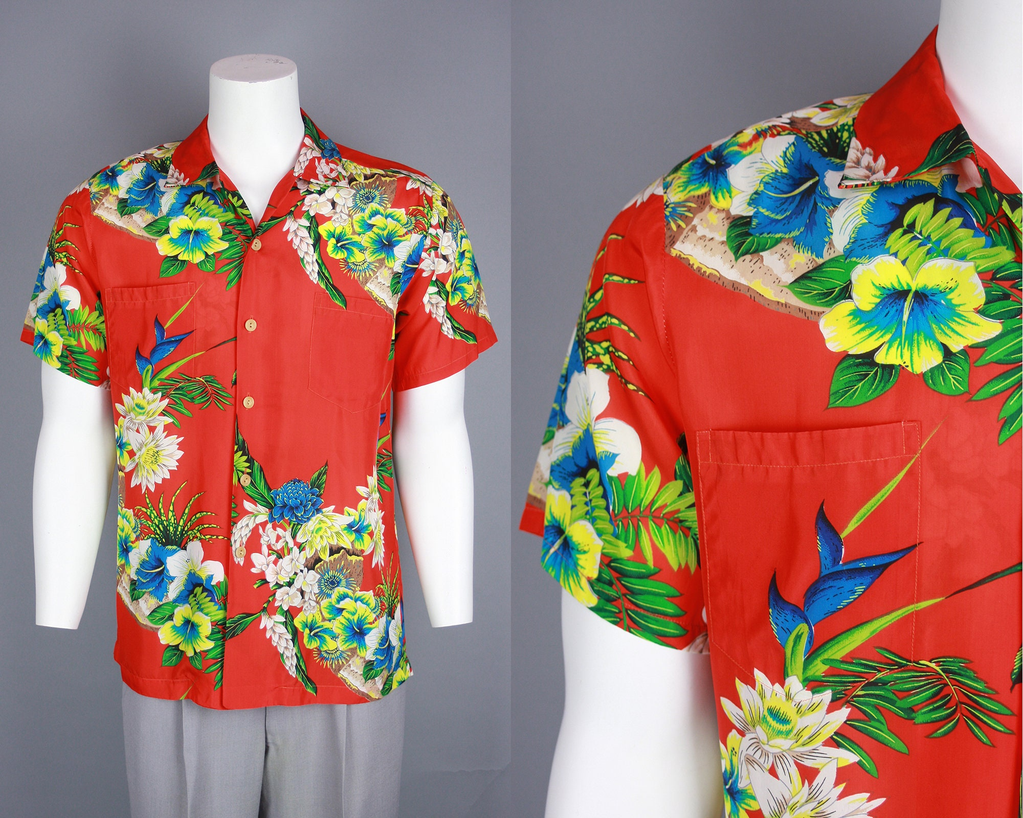 1950s Men's Ties, Bow Ties – Vintage, Skinny, Knit 1950S Vibrant Hawaiian Hand Print Shirt  Vintage 50S Mens Pali Floral Tiki Medium $350.00 AT vintagedancer.com