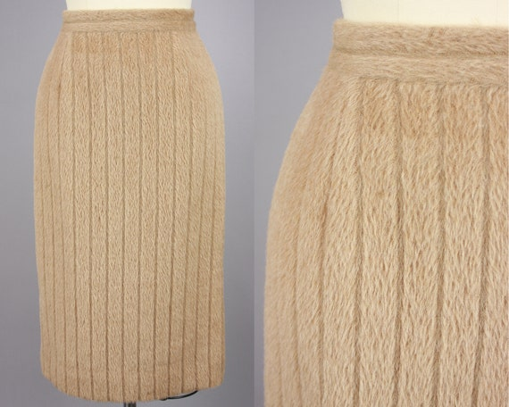 1960s Plush Fuzzy Pencil Skirt | Vintage 60s High