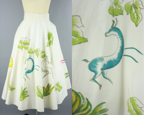 1950s PAINTED SKIRT | Vintage 50s Mexican Circle S