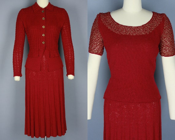 1940s 3 PIECE KNIT SET | Vintage 40s Red & Gold Sw