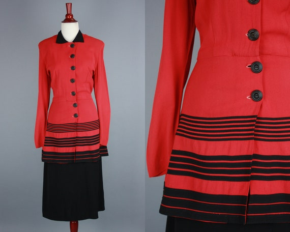 1940s Two Tone Dress | Vintage 40s Red & Black Col