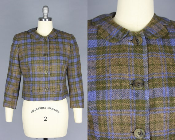 1950s Cropped PLAID Jacket | Vintage 50s 60s Brown