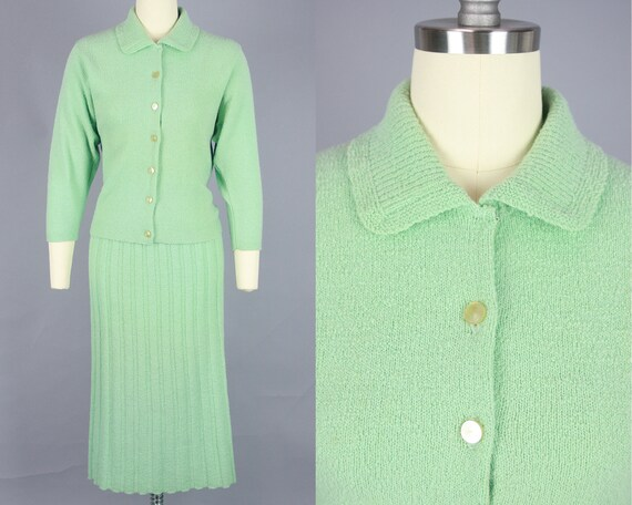 1940s SEAFOAM Green Knit Set   Vintage 40s 50s Swe