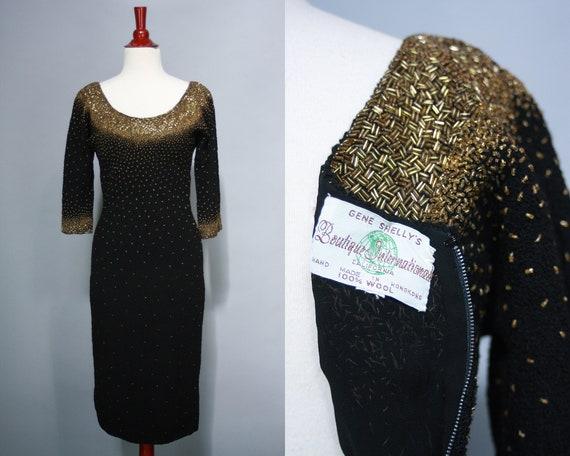 1960s GENE SHELLY Beaded Dress | Vintage 50s 60s B