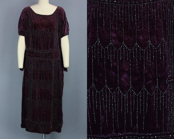 1920s PURPLE VELVET Dress | Vintage 20s Evening Dr