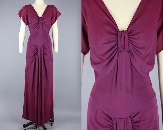 1940s ORCHID PURPLE Gown | Vintage 40s Rayon Eveni