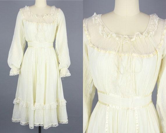 1970s GUNNE SAX Dress | Vintage 70s Ivory Cotton … - image 1