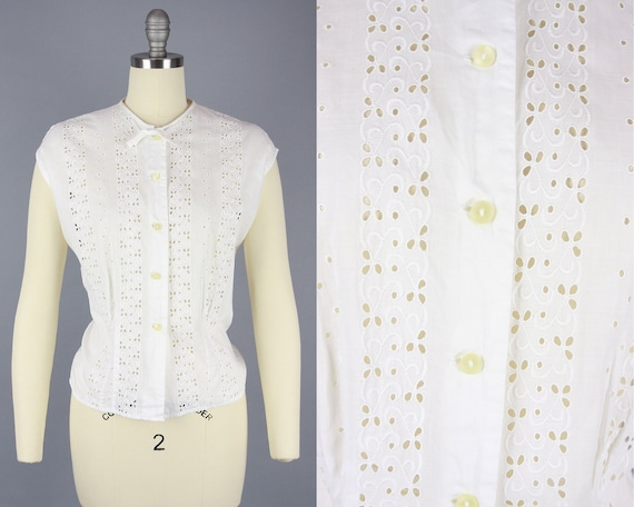 1950s COTTON EYELET Blouse | Vintage 50s White Sle
