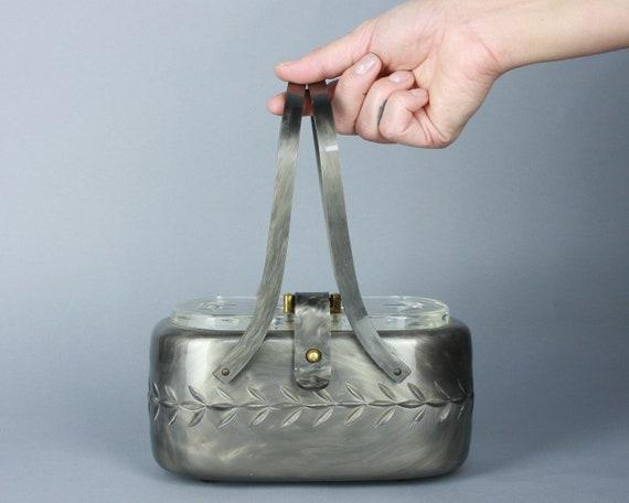 1950s Marbled Grey LUCITE Purse | Vintage Carved H