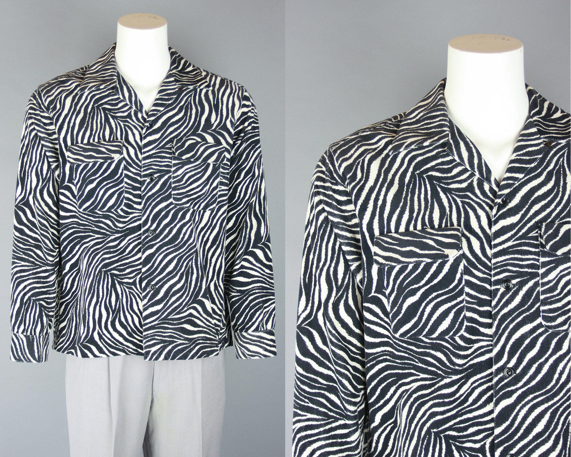 1950s Men's Ties, Bow Ties – Vintage, Skinny, Knit Groovin High Zebra Print Shirt  1940S 1950S Style Mens Corduroy Long Sleeved Rockabilly Large $195.00 AT vintagedancer.com