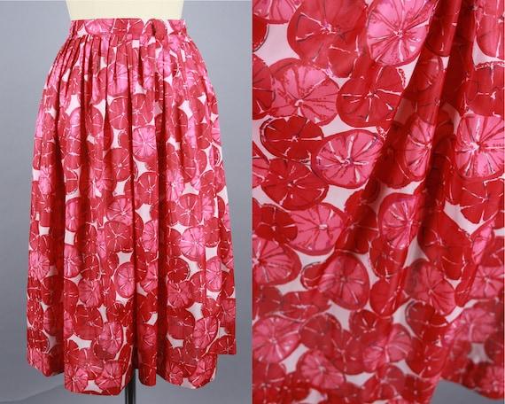 1950s Red CITRUS SLICE Skirt | Vintage 50s High Wa