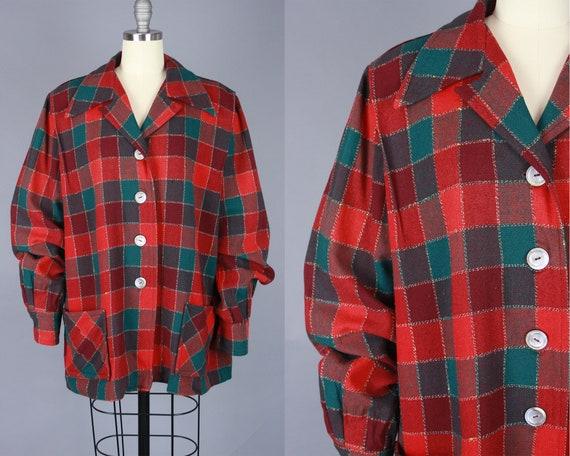 1950s 49er Jacket | Vintage 40s 50s Red & Green Ch
