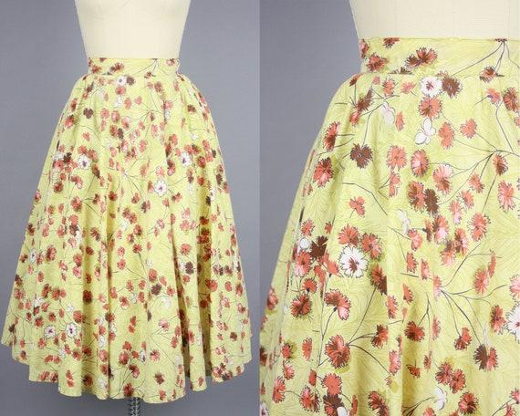 1950s Flower & Butterfly Print Circle Skirt | Vint