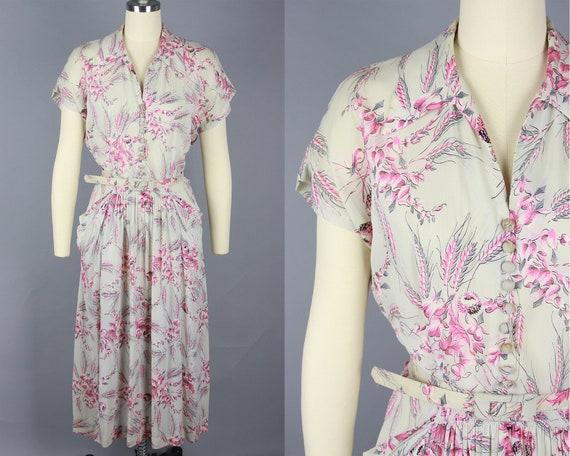1940s BLEEDING HEARTS Flower Dress | Vintage 40s G