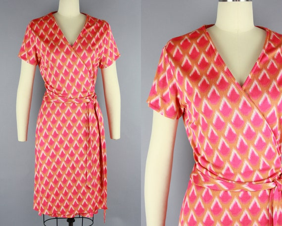1990s DVF Wrap Dress | Vintage 90s Pink & Orange S